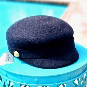 Kronos Krown wool Newsboy Hat, blk sz O/S